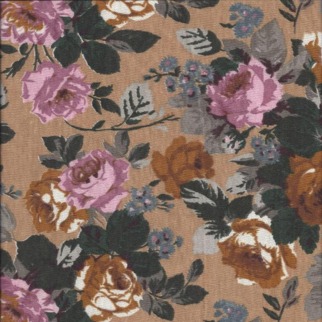 poly knit brown pink floral